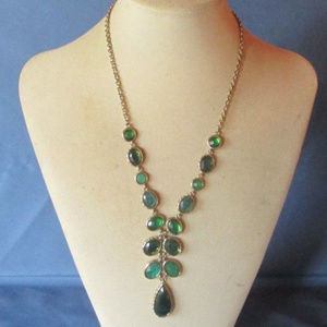 vintage green rhinestone teardrop necklace